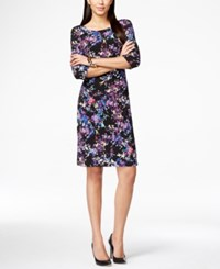 Connected Petite Ruched Watercolor Floral Printed Sheath Dress