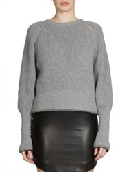 Givenchy Cutout Chunky Ribbed Sweater Grey