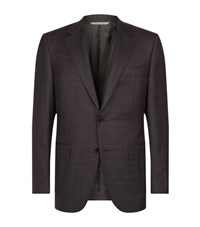 Canali Mini Check Jacket Male Brown