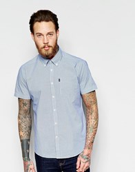 Barbour Shirt With Gingham Check Tailored Slim Fit Short Sleeves Aqua Blue