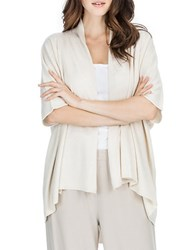 Joan Vass Open Front Knit Cardigan Morning Dove