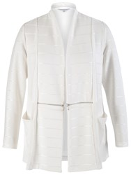 Chesca Ottoman Self Stripe Zip Detail Shrug Ivory
