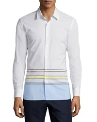 Opening Ceremony Button Front Dress Shirt White Multi White Multi