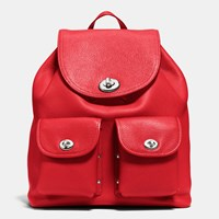 Coach Turnlock Rucksack In Pebble Leather Silver True Red