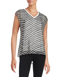 Calvin Klein Striped Chiffon Overlay Blouse Black White