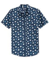 American Rag Men's Jared Printed Short Sleeve Shirt Only At Macy's Basic Navy