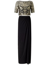 Adrianna Papell Two Piece Lace Top And Skirt Set Black Gold
