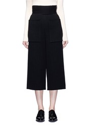 Ms Min Oversized Pocket Chunky Wool Ribbed Culottes Black
