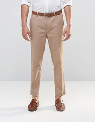 Asos Straight Cropped Cotton Trousers In Stone Stone