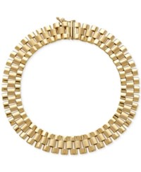 Macy's Men's Wide Link Bracelet In 14K Gold