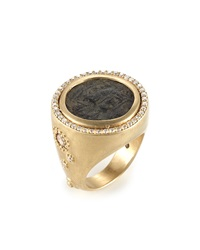 Antiquity 20K Coin Ring With Full Diamond Bezel Coomi