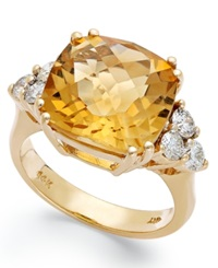 Macy's 14K Gold Ring Citrine 7 Ct. T.W. And Diamond 5 8 Ct. T.W. Cushion Cut Ring