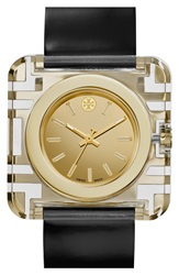 Tory Burch 'Izzie' Square Leather Strap Watch 36Mm Black Gold
