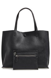 Street Level Reversible Faux Leather Tote And Wristlet Metallic Silver Black