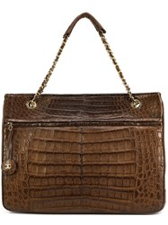 Chanel Vintage Crocodile Leather Tote Brown