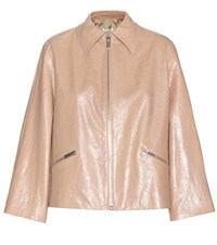 Miu Miu Faux Leather Jacket Beige