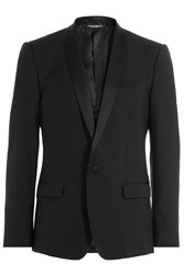 Dolce And Gabbana Wool Silk Tuxedo Jacket Black