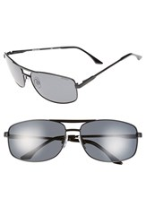 Men's Polaroid Eyewear '2017S' 65Mm Polarized Navigator Sunglasses Semi Matte Black Grey