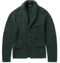 Jil Sander Chunky Knit Wool Cardigan Green