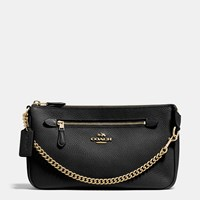Coach Nolita Wristlet 24 In Polished Pebble Leather Light Gold Black