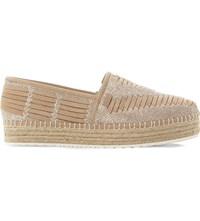 Steve Madden Chancee Leather Flatform Espadrilles Natural Leather