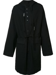 Damir Doma Buttoned Hooded Coat Black