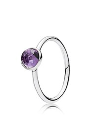 Pandora Design Ring Sterling Silver And Glass February Birthstone Droplet