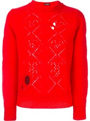 Raf Simons Lace Knit Sweater Red