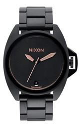Men's Nixon 'The Anthem' Bracelet Watch 43Mm Black Rose Gold