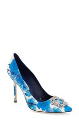 Women's Manolo Blahnik 'Hangisi' Ornamented D'orsay Pump Blue Floral Satin