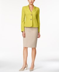 Le Suit Two Button Colorblocked Skirt Suit Honey Dew