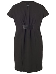 Chesca Pique Jersey Belted Dress Black