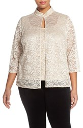 Plus Size Women's Alex Evenings Sequin Lace Mandarin Collar Twinset