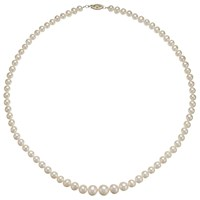 A B Davis 9Ct Yellow Gold Graduating Pearl Necklace White