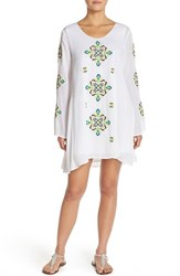 Women's Green Dragon Embroidered Cover Up Shift Dress