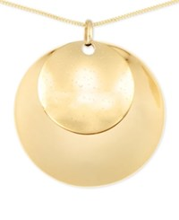 Macy's Polished Double Medallion Long Length Pendant Necklace In 14K Vermeil
