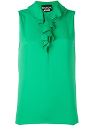 Boutique Moschino Ruffle Neck Sleeveless Blouse Green