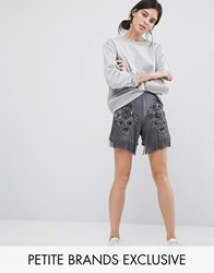 Starry Eyed Petite Satin Shorts With Beaded Applique And Tassel Detail Charcoal Grey