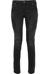 Balmain Pierre Moto Style Mid Rise Skinny Jeans Charcoal