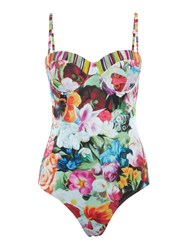 Ted Baker Floral Imari Swirl Runched Swimsuit Pink