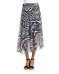Fuzzi Tribal Print Maxi Skirt Black