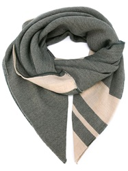 Massimo Alba Striped Scarf Green