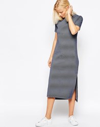 Native Youth Striped Midi Dress Navy