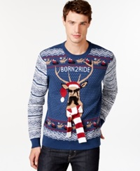 American Rag Born 2 Ride Holiday Sweater Only At Macy's Indigo Dye