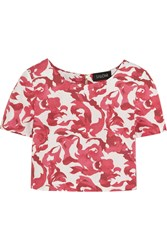 Saloni Marie Printed Cotton Blend Jacquard Top Red