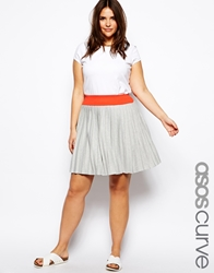 Asos Curve Pleated Skater Skirt Grey