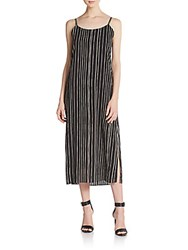 Alice Olivia Aria Double Slit Dress Chalkboard Stripe