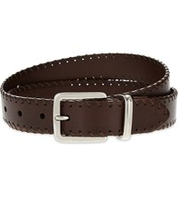 Brunello Cucinelli Stitch Detail Leather Belt Brown