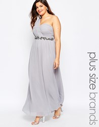 Little Mistress Plus One Shoulder Embellished Maxi Dress Grey