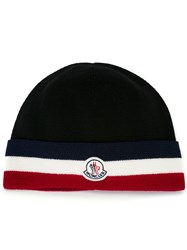 Moncler Striped Trim Knitted Hat Black
